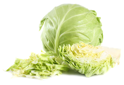 Cut green cabbage isolated on white background