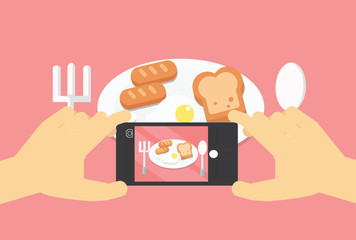 Flat lay mobile food photo, hands with phone taking picture of food.Modern mobile photography concept.Vector illustration