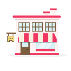 Shop house flat design vector illustration