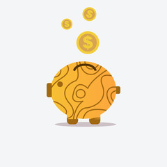 Pig bank and wood texture with coin icon.Saving money concept.Vector illustration.