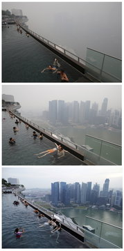 A combination photo shows people relaxing in an infinity pool overlooking the skyline of the central business district shrouded by haze in Singapore