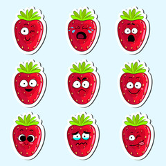 Cartoon strawberry cute character face isolated vector illustration. Funny sweet berry face icon collection. Cartoon face food emoji. Strawberry emoticon. Funny food sticker.