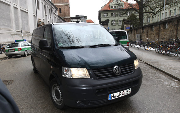 A police van with tinted windows carrying, according to a spokesperson of the Bavarian police, British boxer Dereck Chisora, as it arrives at Munich's main police station