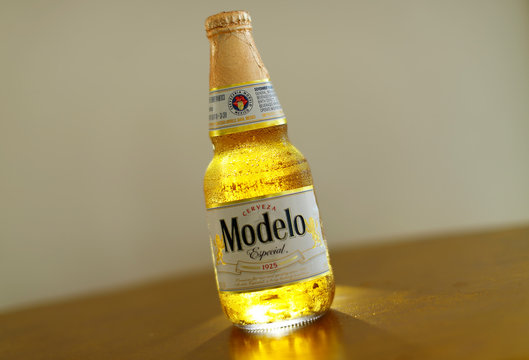 One of Constellation Brands Inc products,  Modelo Especial beer is shown in this  illustration photograph taken in Encinitas, California