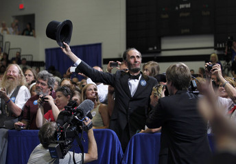 A member of the audience dressed as former U.S. President Abraham Lincoln is pictured after being acknowledged by U.S. President Barack Obama during an event in Cedar Rapids