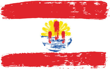 French Polynesia Flag Vector Hand Painted with Rounded Brush