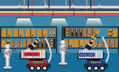 Automatic machine,Robotic system used waerhouse - vector