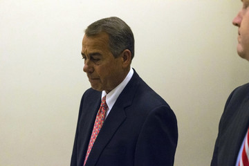 Boehner departs following a news conference at the U.S. Capitol in Washington