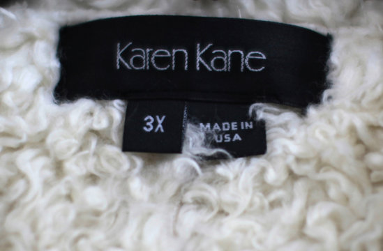"""A jacket with a """"Made in USA"""" label is seen at Karen Kane clothing company in Los Angeles"""
