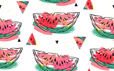 Hand drawn vector abstract collage seamless pattern with watermelon motif and triangle hipster shapes isolated on white background.Unusual decoration for summer time wedding,birthday,save the date