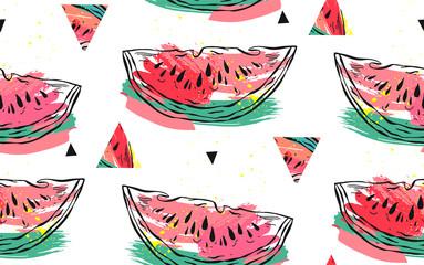 Modèle sans couture de collage abstrait vectoriel dessiné à la main avec motif pastèque et formes de hipster triangle isolés sur fond blanc. Décoration inhabituelle pour le mariage de l& 39 heure d& 39 été, anniversaire, réservez la date