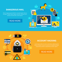 Dangerous Mail And Account Hacking Flat Banners
