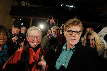 Actor, director and Sundance Film Festival founder Robert Redford smiles with film critic Roger Ebert in Park City, Utah