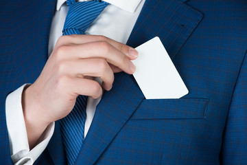 business ethics, banking and finance, card in hand of man