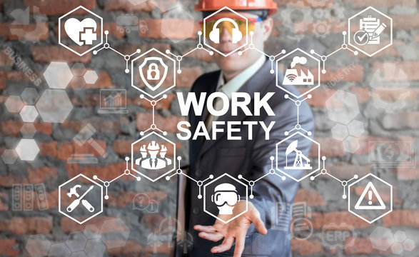 Work Safety First Standard Сonstruction Industry Business Concept. Health protection, personal security people on job, hazards, regulations. Man in helmet presenting work safety icon on virtual screen