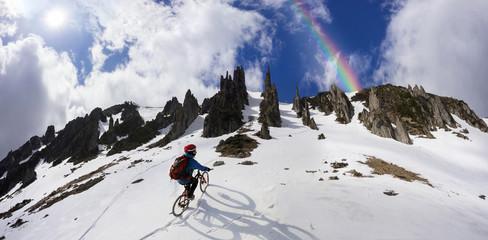 Rider on a mountain bike