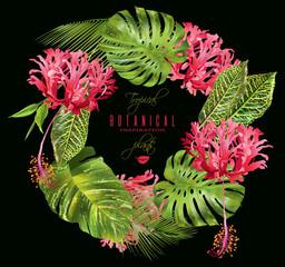 Tropical flower wreath