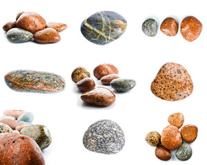 Wet sea stones isolated on white background. Set of sea stones.