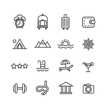 Vacation and travel. Line icon set.