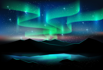 Aurora blue sky and a lot of star on lake, astronomy background, Vector illustration