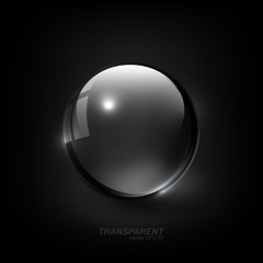 Modern Shiny Transparent glass sphere with shadow on dark black background, vector illustration