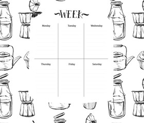 Scandinavian Weekly and Daily food Planner Template.Organizer and Schedule with Notes and To Do List.Vector.Isolated.Graphic kitchen elements in black and white colors.Recipe weekly daily for cooking.