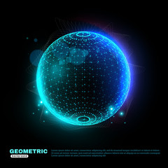 Geometric Glowing Sphere Background poster