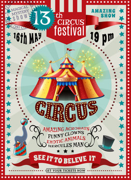 Circus Festival Announcement Retro Poster