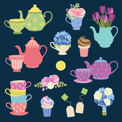 Vector illustration of tea party graphic elements with matching teapot and teacup and flower set.