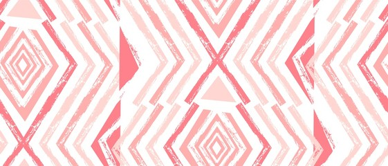 Hand drawn vector Navajo seamless pattern.Aztec abstract geometric print in pastel colors isolated on white background.Zig zag pattern