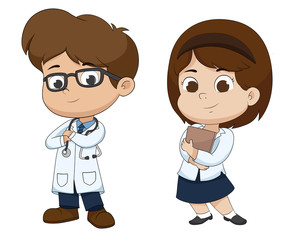 Boy and girl in profession's costume of doctor.