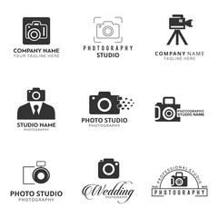 Set of 9 Vector Black Icon for Photographer. Camera Icon