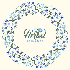 Floral round vintage frame, Jacobean embroidery style flowers. Colorful herbal wreath. Vector illustration. Herbal collection, blue meadow flowers.