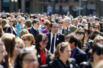 Judges demonstrate in front of Uruguayan Presidential house in Montevideo, demanding salary increases