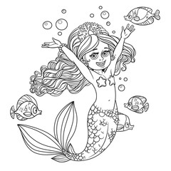 Cute happy little mermaid girl outlined isolated on a white back