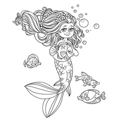 Cute little mermaid girl holds a pet fish outlined isolated on w
