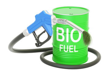 barrel with bio fuel and gas pump nozzle, 3D rendering