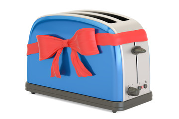 Toaster with red ribbon and bow, gift concept. 3D rendering