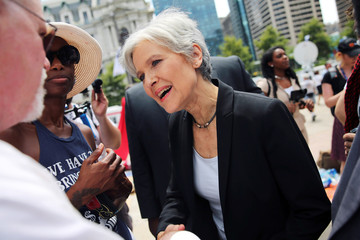 Green Party presidential candidate Stein arrives at a rally of Sanders's supporters on the second day of the Democratic National Convention in Philadelphia