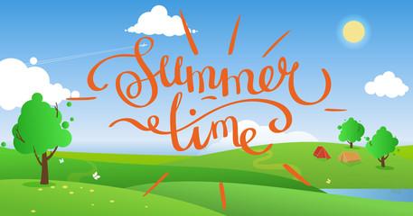 summer landscape vector background