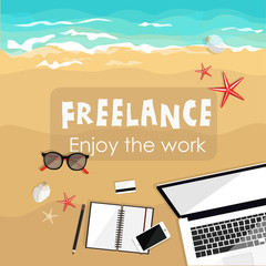 Freelance concept. Summer background work and relax on the sea. Sand beach. Laptop sunglasses. Flat vector illustration.