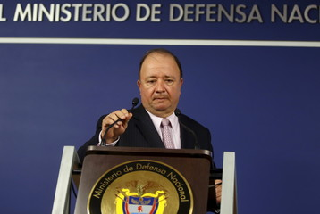 Colombia's Defense Minister Luis Carlos Villegas arrives at the Defense Ministry before a news conference in Bogota