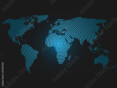 World map of concentric rings blue led light futuristic design on world map of concentric rings blue led light futuristic design on dark background vector sciox Choice Image
