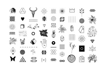 Set of different elements and shapes.Trendy hipster symbols and logotypes. Ethnic patterns. Geometric, alchemy, decor items. Vector.