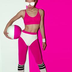 Fitness training vibration. Football. Pop art style. Fashion girl