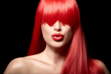 Sensual sexy beauty portrait of a red haired young woman