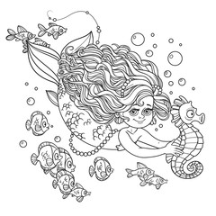 Beautiful little mermaid girl swimming with sea horse in the han