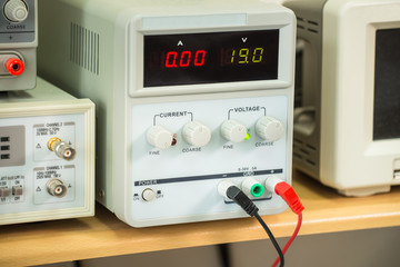 Laboratory power supply, professional equipment, closeup