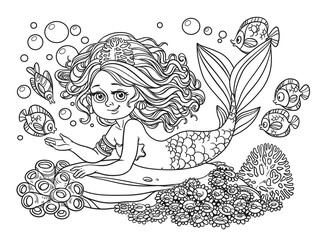 Beautiful mermaid girl lies on a rock outlined isolated on a whi