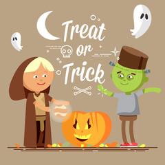 Happy Halloween. Set of cute cartoon children